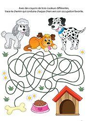 Jeu de labyrinthe gratuit à imprimer, les chiens