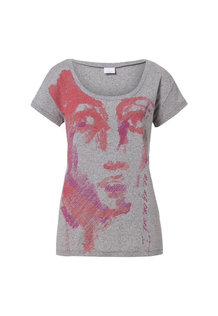 Urban T-Shirt with Face Print - Grey Melange