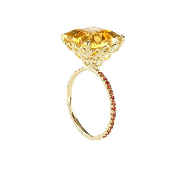 Lito yellow gold ring with a 7.5ct square-cut citrine, brown brilliant-cut diamonds and orange brilliant-cut sapphires.