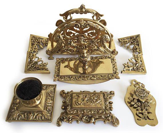 Vintage Desk Set, Ornate Brass Repoussé Deskset, Victorian Desk Accessories, Letter File Organizer, Inkwell, Rocker Blotter, Stamp Box