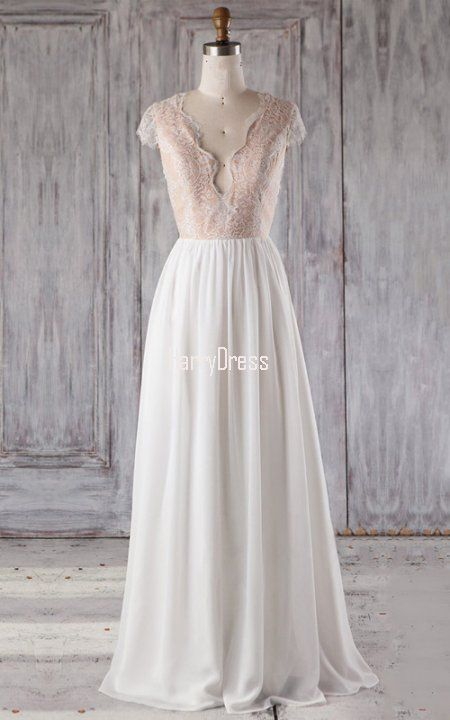 6bc5088f07 White A Line V Neck Chiffon Tulle Floor Length Appliques Lace Bridesmaid  Dress