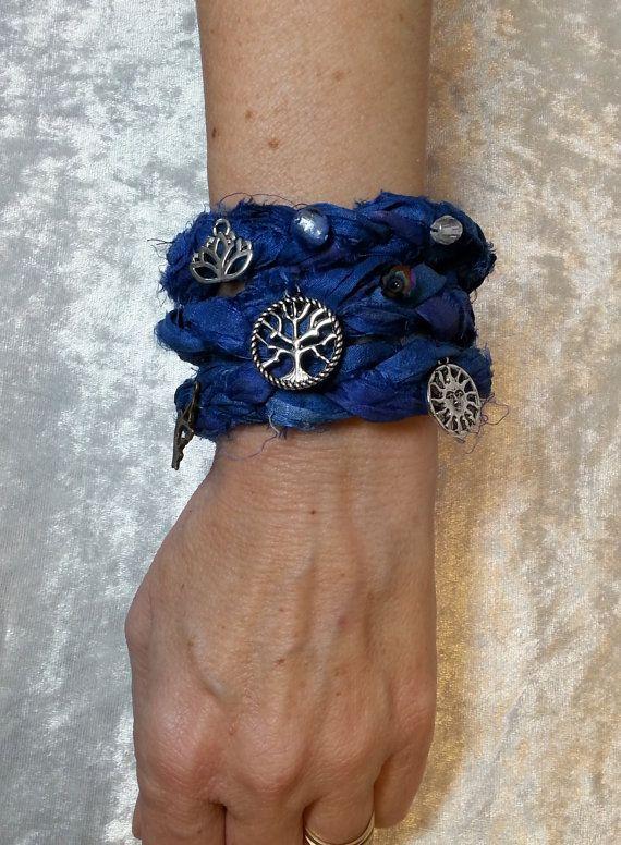 Hippie Bohemian Gypsy Wrap Bracelet  Sari Silk by Pursuation