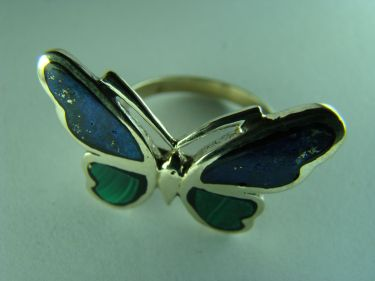 Кольцо бабочка лазурит малахит