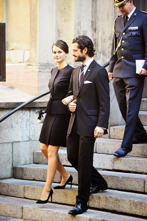 Prince Carl Philip and his fiancee, Sofia Hellqvist leaving the Cathedral of Stockholm after opening ceremony for the opening of the Swedish Parliament