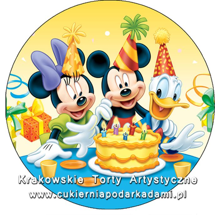 085. Fototort z Myszką Mikkie i Minnie i z Kaczorem Donaldem. Photocake with Minnie and Mikkie Mouse with Donald Duck.