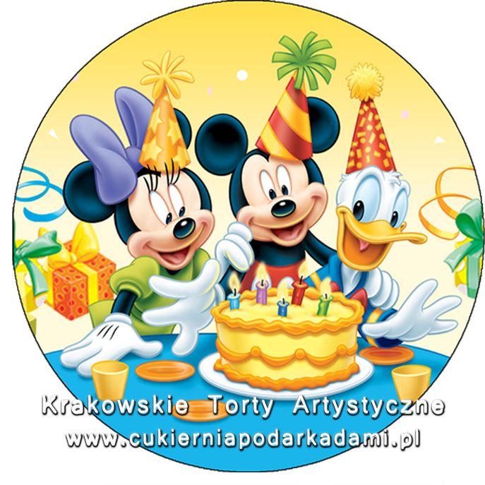 085. Fototort z Myszką Mikkie i Minnie i z Kaczorem Donaldem. Photocake with Minnie and Mikkie Mouse with Donald Duck.