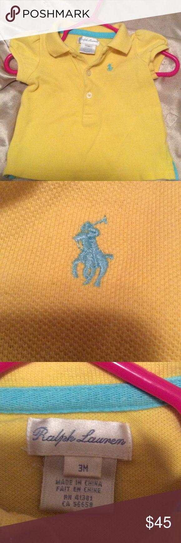 Baby Ralph Lauren polo shirt Yellow and blue Ralph Lauren polo shirt, good condition, no stains, pet/smoke free home Ralph Lauren Shirts & Tops Polos