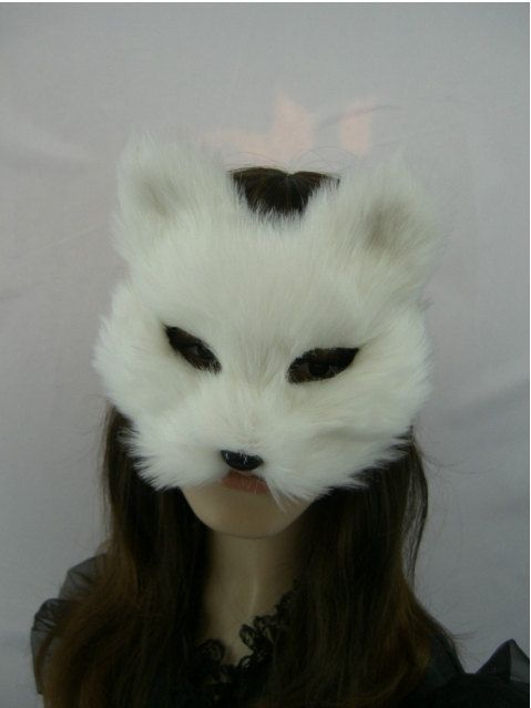 White Fur Feather Masquerade Ball Mask,Fox Mask,Catgirl Paper Mache Venetian Mask,Fur Decoration Mask, Animal Face Mask Collection
