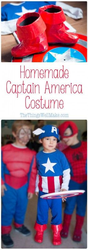 Make your little (or big) superhero happy with this homemade captain america costume that can be made from recycled t-shirts.