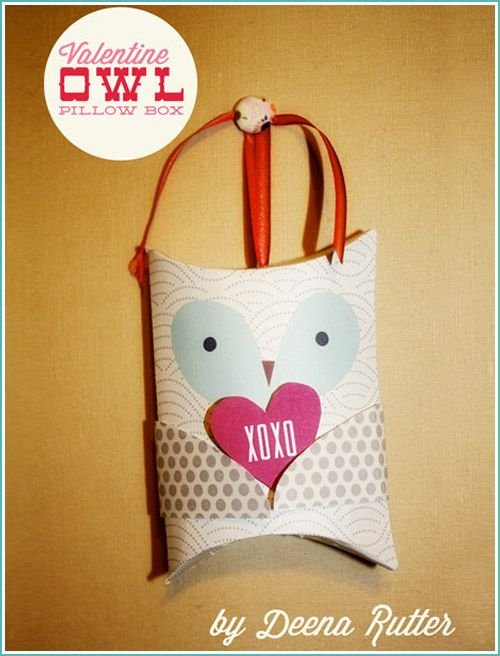 113 best valentine templates images on pinterest for Owl pillow box template