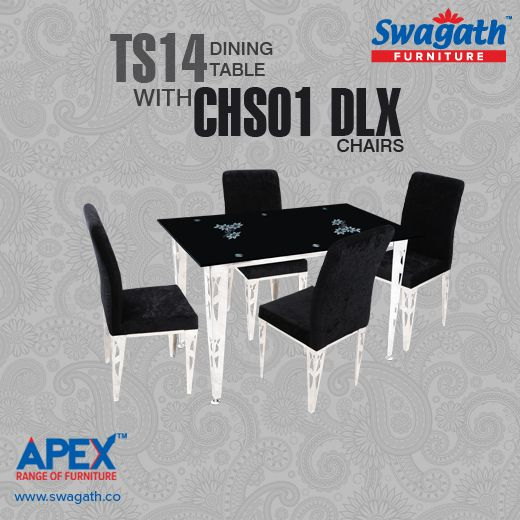 Swagath's APEX range of #furniture presents TS14 dining #table with CHS01 DLX #chairs which makes it look outstanding are available in different colours!!