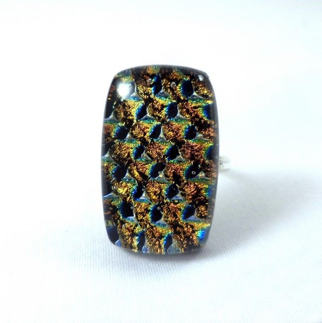 Fused dichroic glass ring created by Verre'Arts