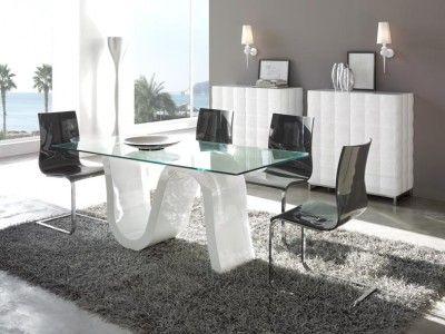 Mesas de Comedor-Salon HIMALIA. Mesa de diseño moderno con pie en forma de ola en MDF lacado blanco y tapa de cristal rectangular de 12 mm.