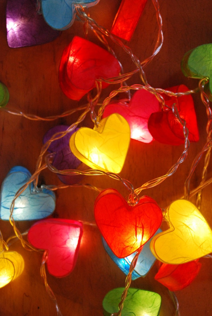 Rainbow paper heart fairy lights
