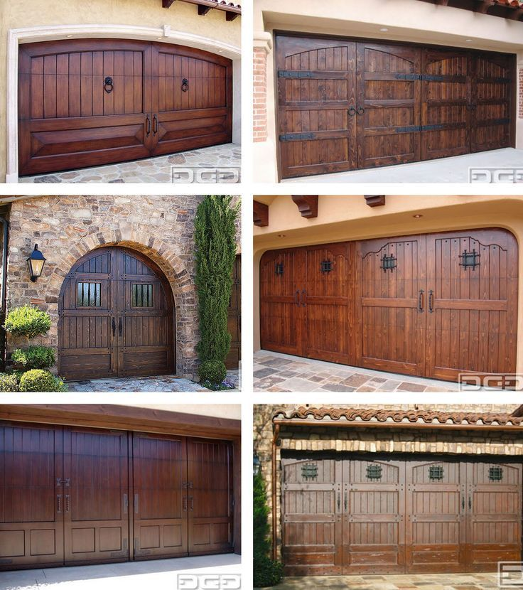 Wood (or faux wood) garage doors bring elegance and style, especially when the color is rich and door panels are patterned.  Distinctive garage door hardware will have an impact on the overall look too!