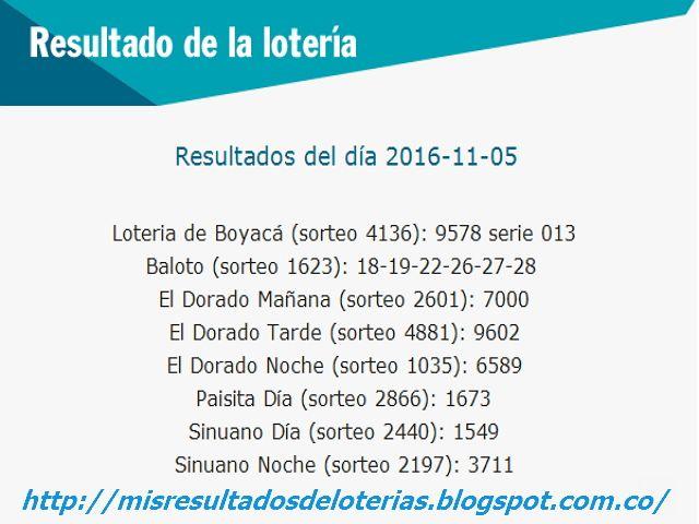Resultado de la Lotería: Resultados-De las-loterias-de-colombia-05-de-novie...