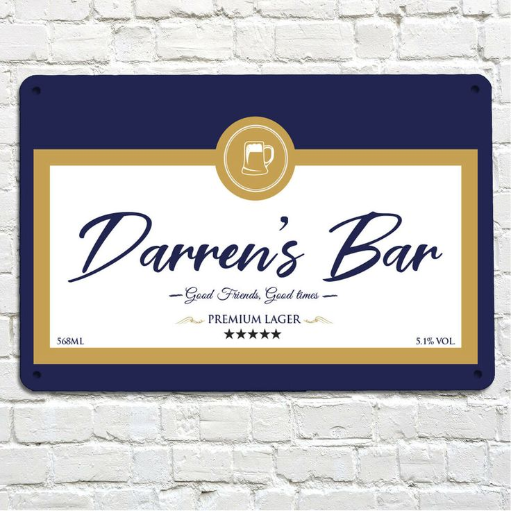 Personalised Blue & Gold beer Label A4 metal sign plaque