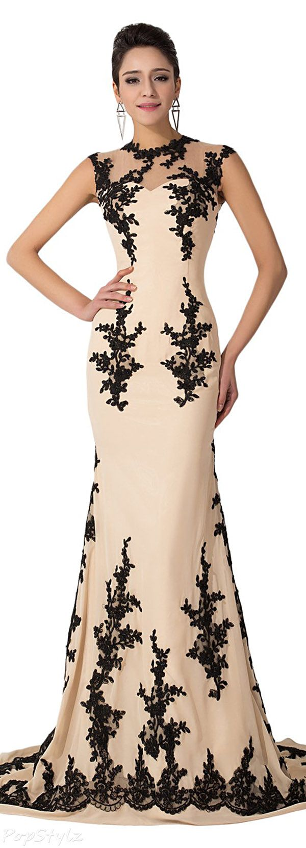 Sunvary Champagne & Black Lace Applique Mermaid Gown