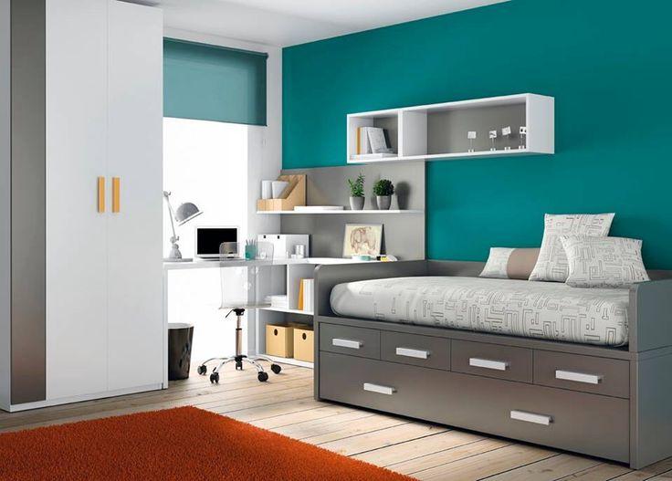 Gris y turquesa buena combinaci n habitaciones - Habitaciones juveniles modernas ...