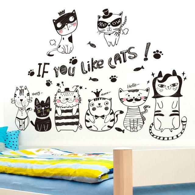[SHIJUEHEZI] Nordic Style Black Cats Wall Sticker Vinyl DIY Animals Wall Art for Kids Room Living Room Decoration