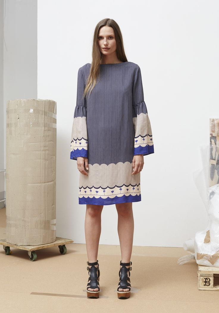 Rodebjer SS16: Dress Mila Border Blue, Shoes Juliana Black.
