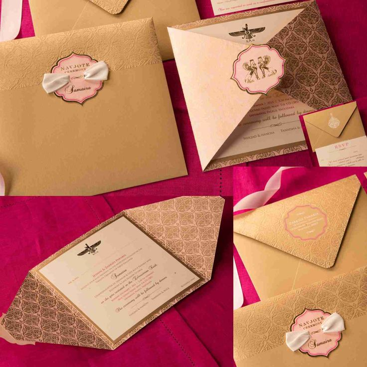 Navjote ceremony Invitation - Parsi Invitation. Pastel Pink badge and satin ribbon on printed and embossed golden invite.