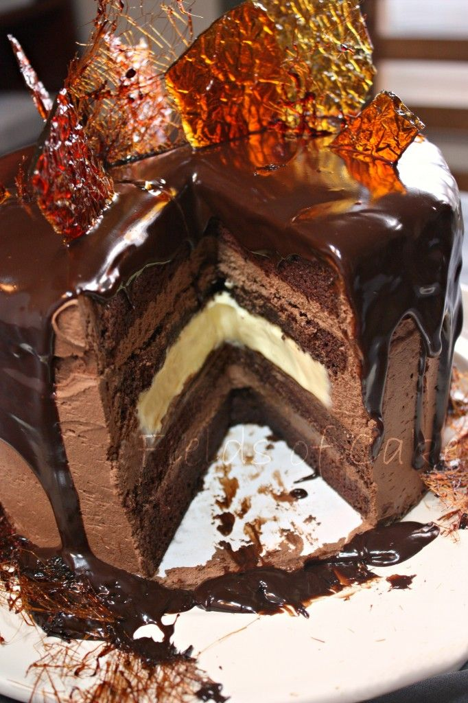 Chocolate Cake with Chocolate Ganache and Creme Brulee Filling