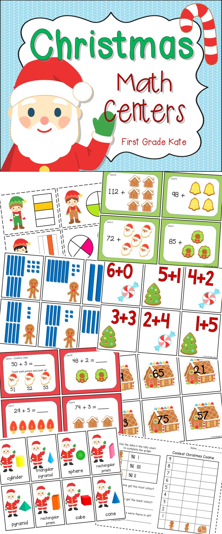 Need some math activities to keep your first grade kiddos engaged this last week before break?  Check out these math centers!  $