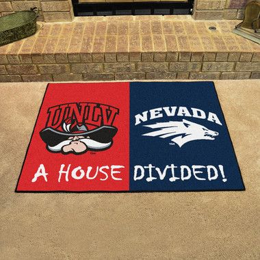 """UNLV Rebels - Nevada Wolf Pack House Divided All Star Area Rug Floor Mat 34"""""""" x 45"""""""""""
