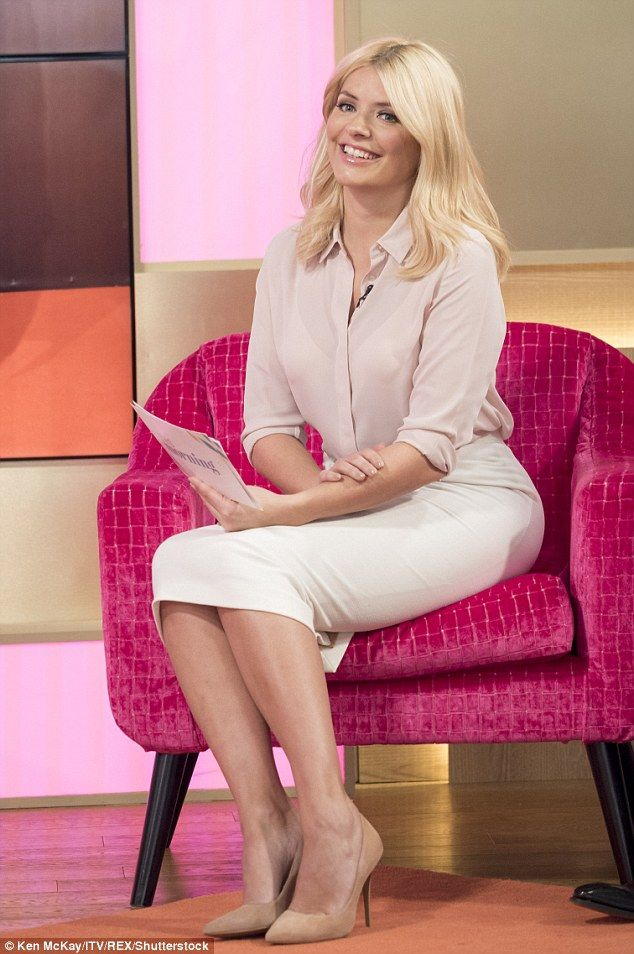 Pale palette:Holly Willoughby showed off another winning ensemble from her work wardrobe on Thursday's episode of This Morning