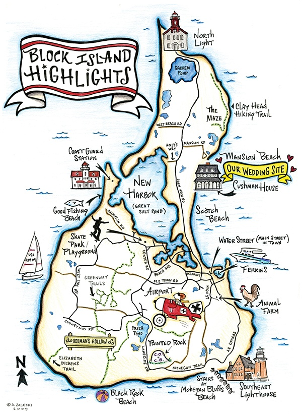 Block Island, Rhode Island Wedding Map. Purchase an updated, abridged print at: www.invitationsinkstudio.bigcartel.com.