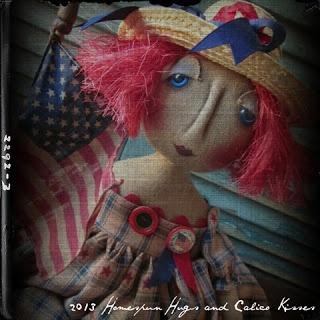 Primitive Patriotic Americana Doll ~ Homespun Hugs and Calico Kisses