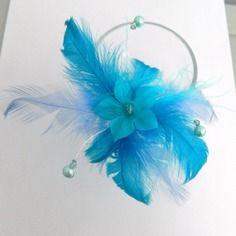 Bijoux mariage : pic à cheveux fleur turquoise et plumes