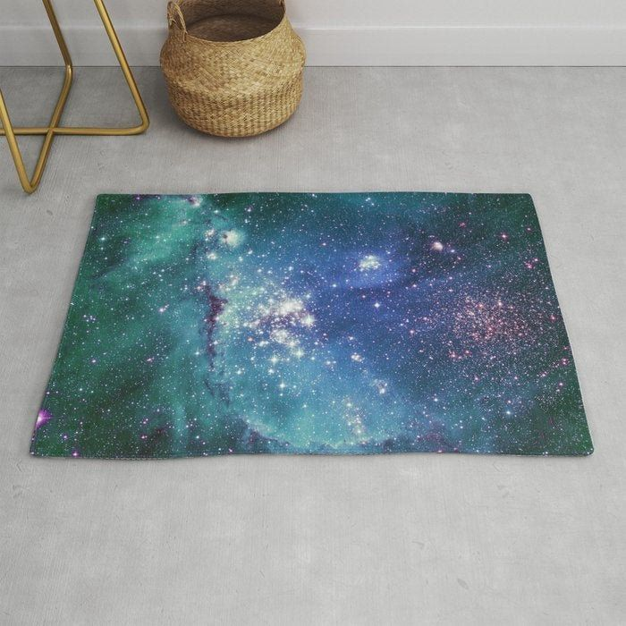 Turquoise Star Galaxy Rug Galaxy Rug Space Rug Turquoise Rug