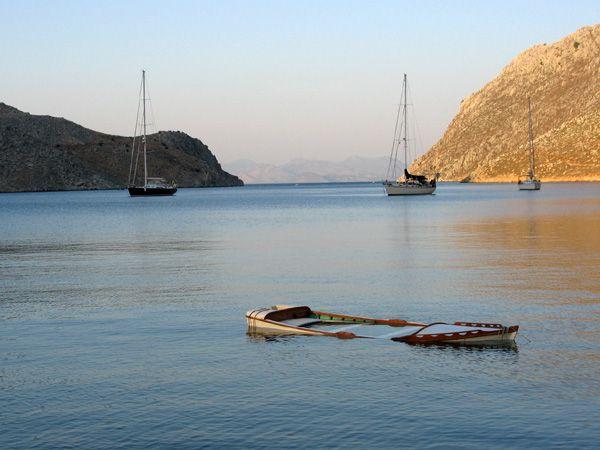 Half-sink boat in Simi Island