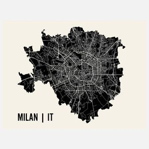 Graphic art 3. -AK Milan Map Print 24x18, $24, now featured on Fab.