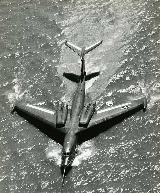 Martin P6M SeaMaster - these giant seaplanes were developed to be able to take off with a load of nuclear weapons from any body of water - (sea water and engines don't mix)