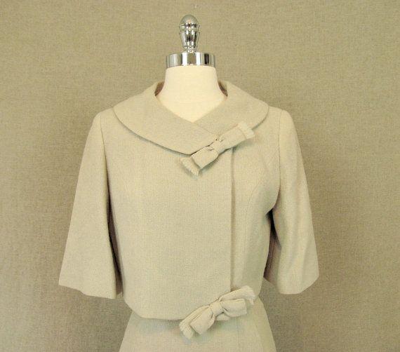 1950s Suit / Vintage 50s Beige Suit with Bow by AmouretteVintage, $128.00