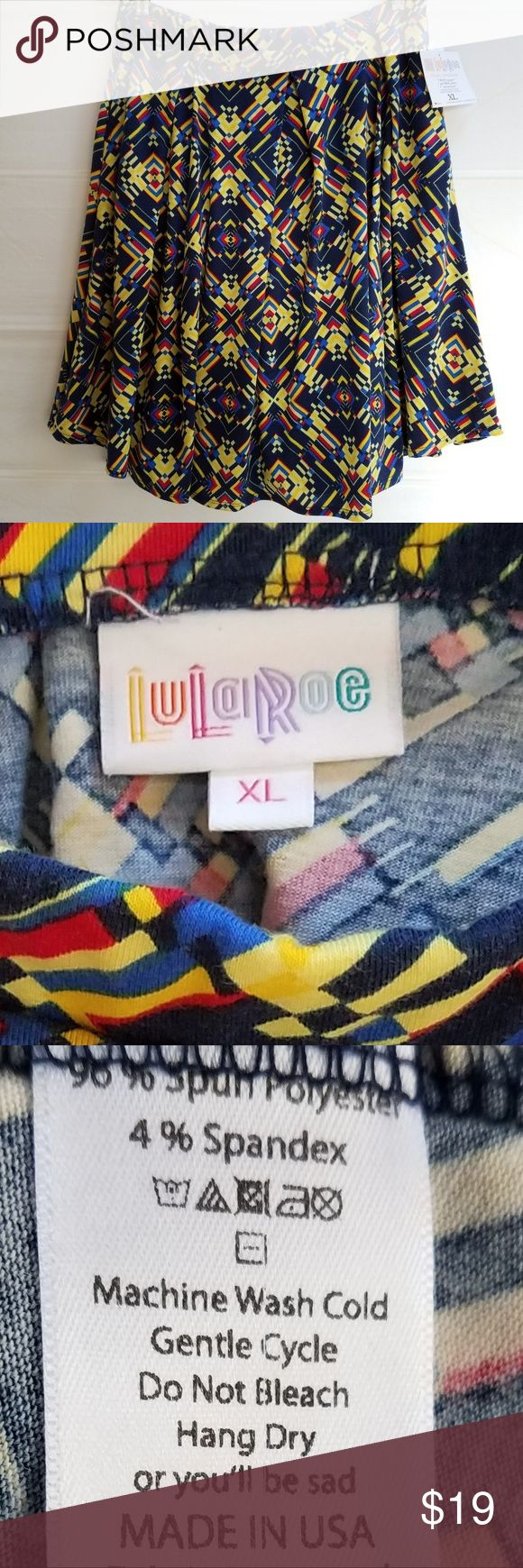 """LuLaRoe Multicolor Madison Skirt LuLaRoe Madison skirt in blue/yellow/red abstract print on navy ground. Pleated. Side-seam pockets.  New with tags. Polyester/Spandex. Measurements (flat): waist 16 1/2"""", length 23"""" LuLaRoe Skirts"""