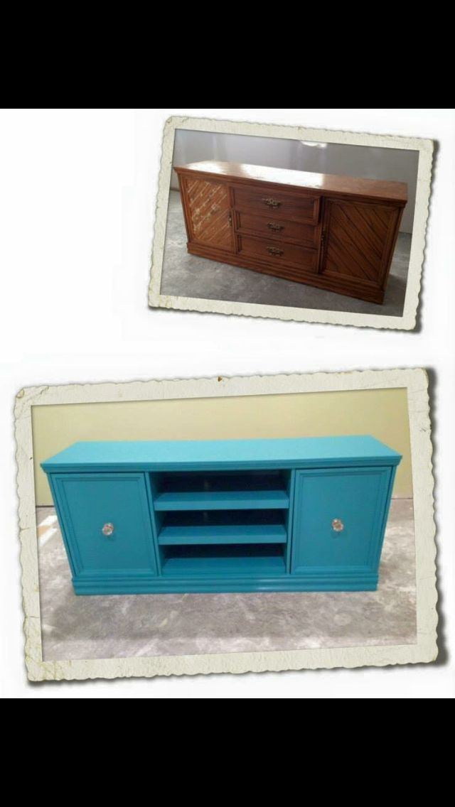 Oak dresser painted and modified to be an entertainment unit.