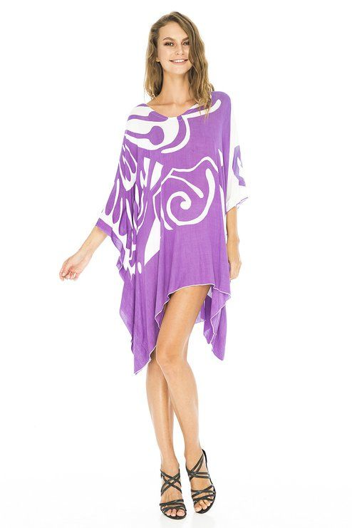 An ultra-fine rayon weave makes this roomy short dress a silky, soft beach cover up.