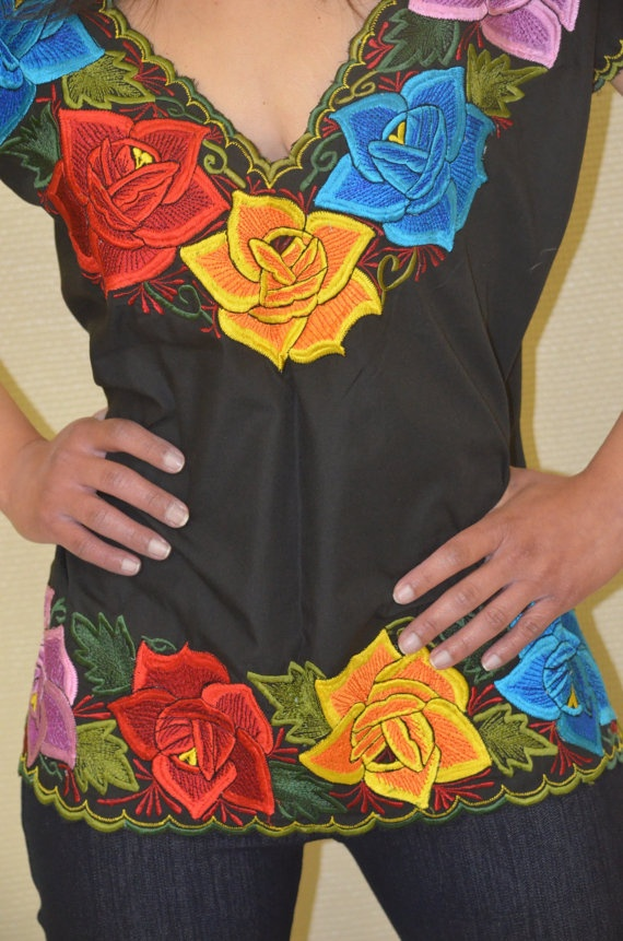 Multi- Colored Flowers on Mexican Embroidered Blouse / Huipil / Tunic by Vtgantiques, $54.99, https://www.etsy.com/listing/110722871/unique-mexican-embroidered-blouse-huipil