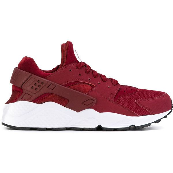 Nike Air Huarache sneakers ($132) ❤ liked on Polyvore featuring men's fashion, men's shoes, men's sneakers, red, mens red sneakers, mens lightweight running shoes, nike mens sneakers, mens lace up shoes and nike mens shoes