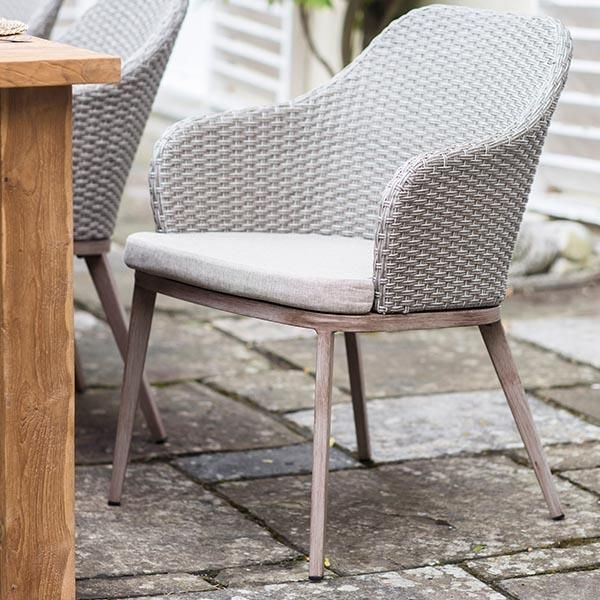 Ashwicke PE Rattan Garden Chairs with Cushion at Table