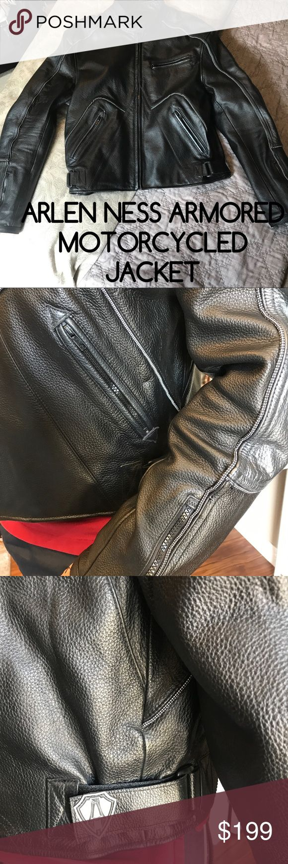 Arlen Ness Motorcycle Jacket, Medium In excellent pre-owned condition, appears to be in-worn. This super heavy leather motorcycle jacket is not a professional racing jacket however has body armor in the elbows and in the back. No scratches, stains or wearing. Size is Medium.  Pay list price and I will pay your shipping. Arlen Ness Jackets & Coats Performance Jackets