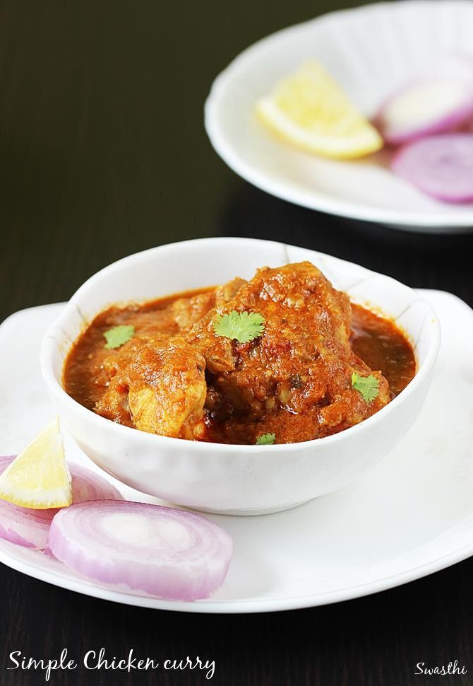 Chicken curry recipe without coconut, learn how to make simple and easy chicken gravy with step by step photos. Served with rice or roti