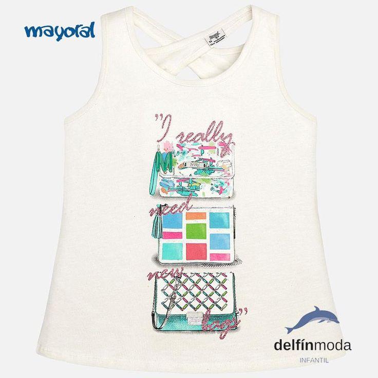 """Camiseta de niña juvenil MAYORAL tirantes """"bolsos"""""""