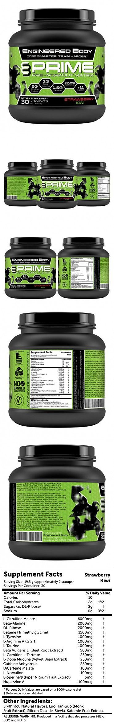 Engineered Body PRIME Natural Pre Workout Supplement for Men and Women - Best Nitric Oxide Booster - Increased Energy - Top Fat Burner - 30 Servings 585 Grams - Creatine Free - Strawberry Kiwi
