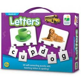 Letters Match It! Spelling Puzzle Set - Educational Toys Planet. Great gift for 4 years old child. Match It! Letters game provides children with an excellent and fun introduction to basic letters and spelling. Develops Skills - letters, spelling, reading matching skills, problem solving, word recognition, language art. #toys #learning #educational #gifts #child https://www.educationaltoysplanet.com/letters-match-it-spelling-puzzle-set.html