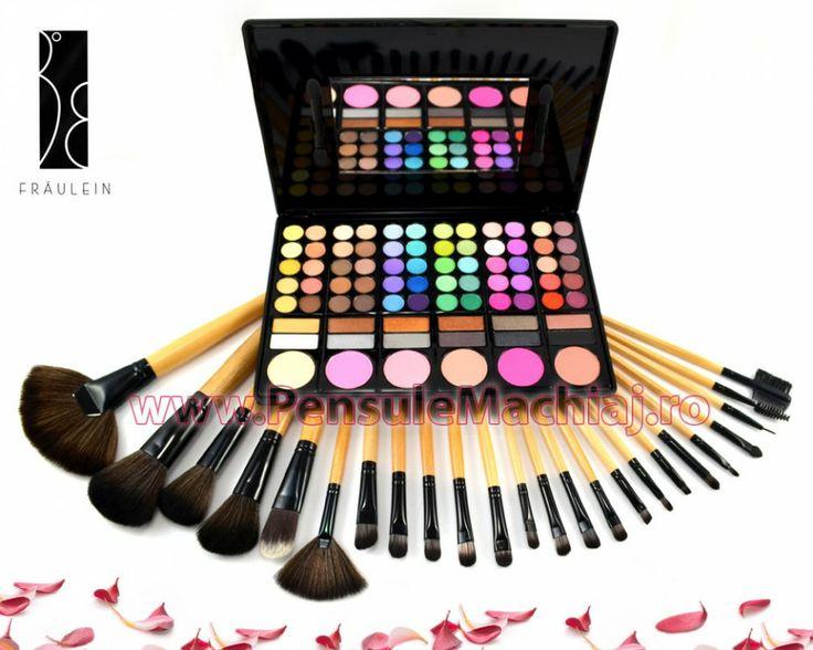 Trusa Farduri 78 culori cu blush Fraulein38 neutre + 24 pensule machiaj lemn lacuit